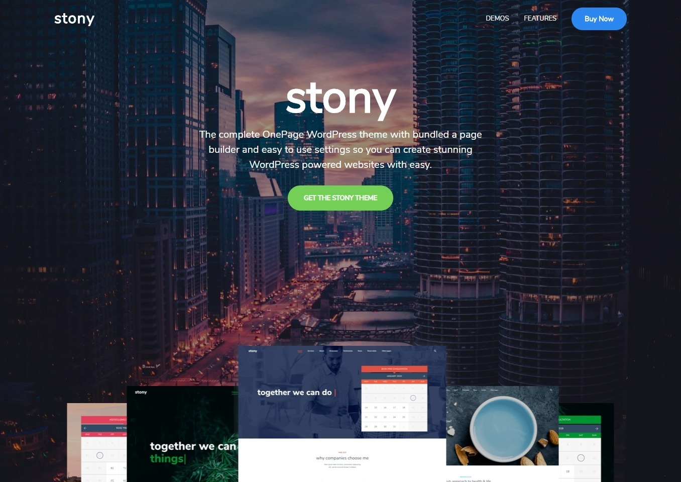 Stony One Page Theme with Drag and Drop Page Builder
