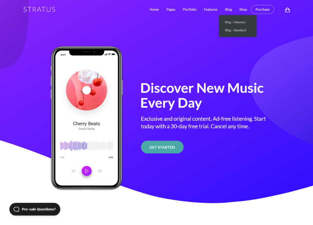 Stratus App Promo WordPress Theme