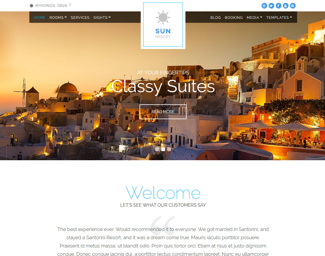 Sun Resort WordPress Travel Arrangements Theme