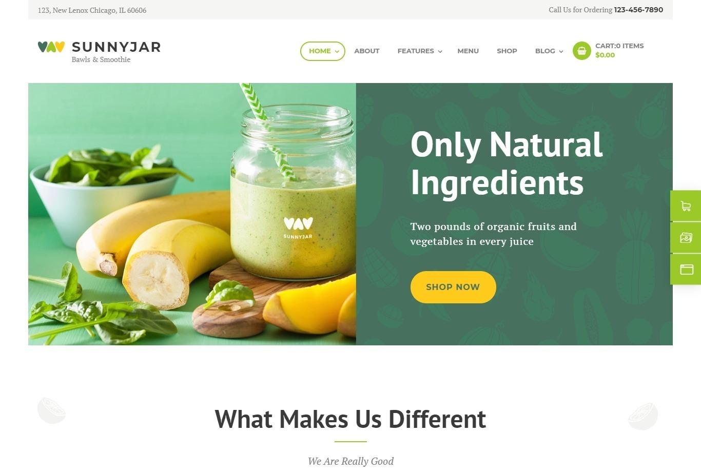 Sunnyjar WordPress Theme for Smoothie Shops