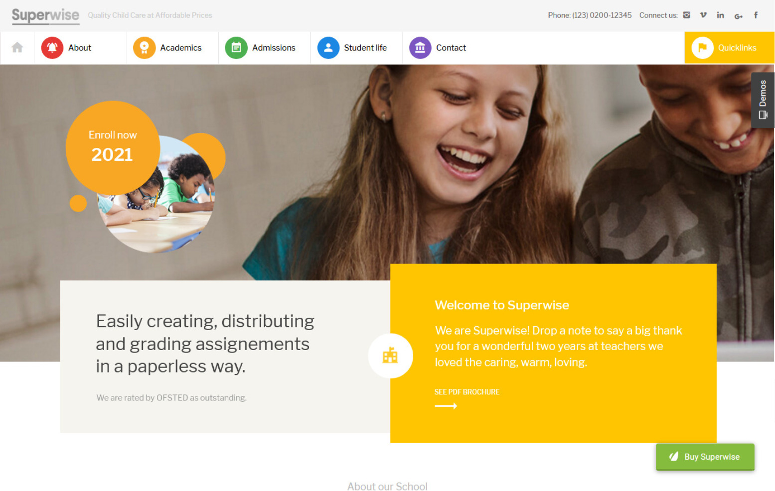 Superwise Modern Education and Google Classroom WordPress Theme