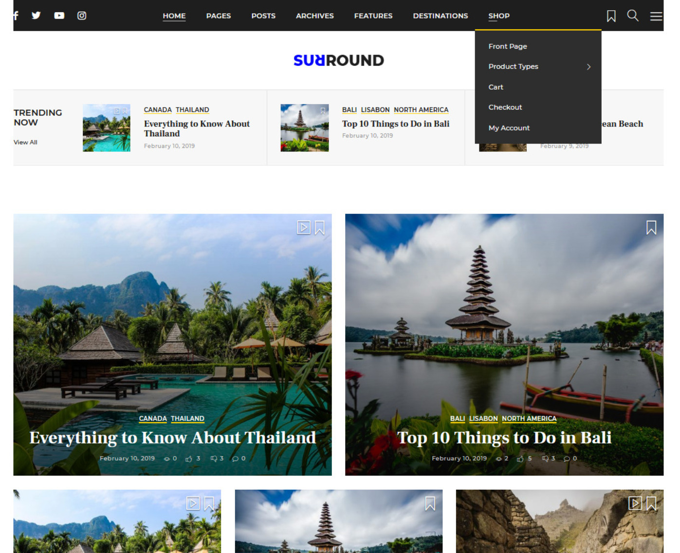Surround Vlog Blog WordPress Theme