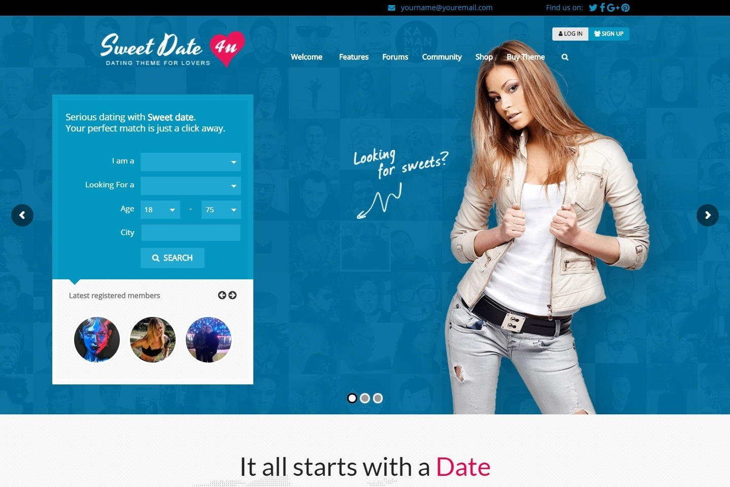 Sweet Date Dating and Matchmaking WordPress Theme