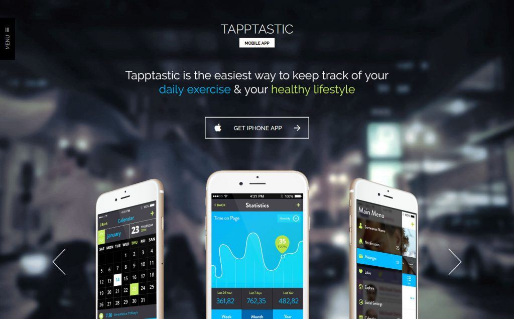 Tapptastic Premium App WordPress Theme Demo
