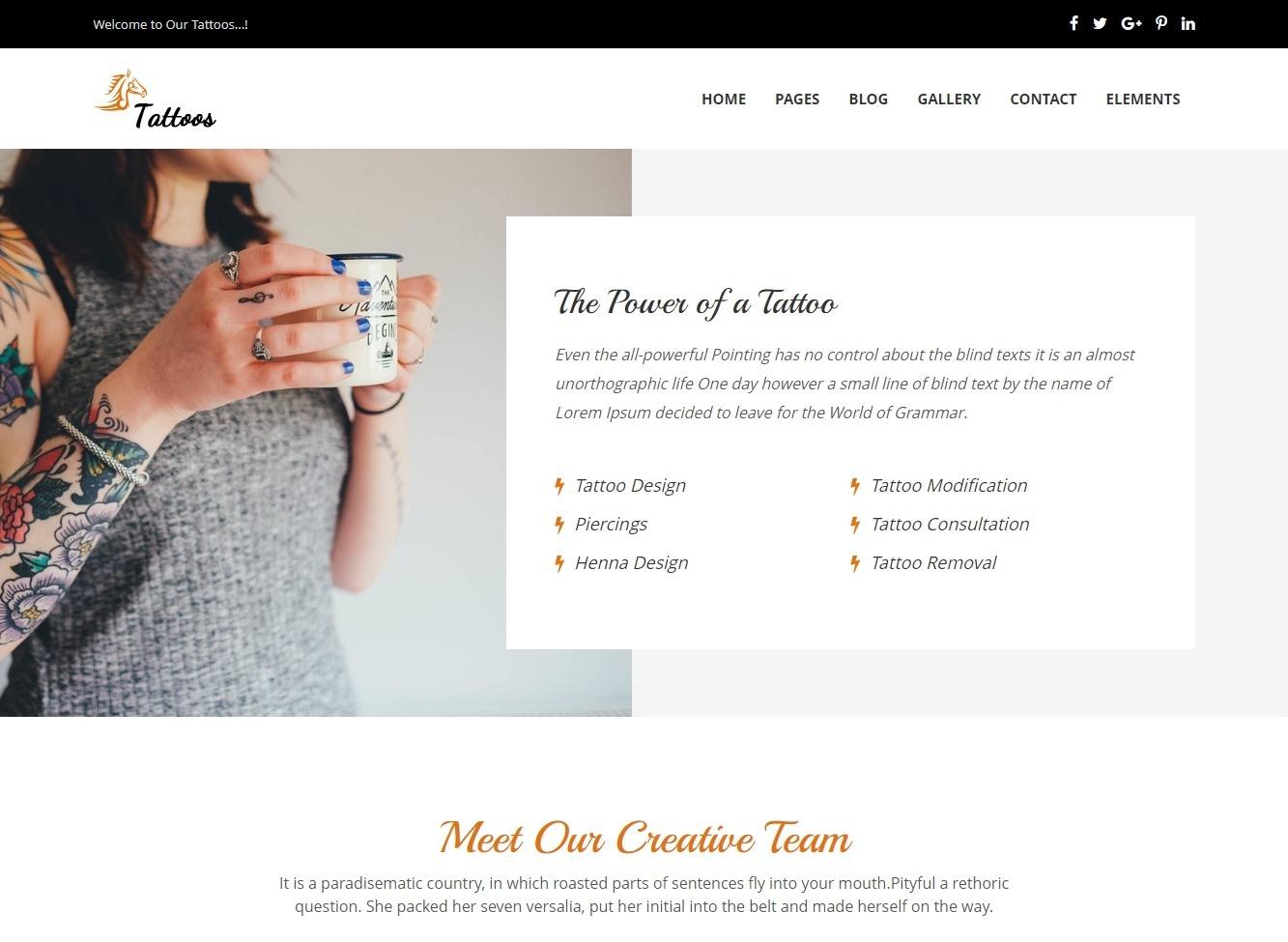 Tattoos Elegant and Refined Tattoo Salon WordPress Theme