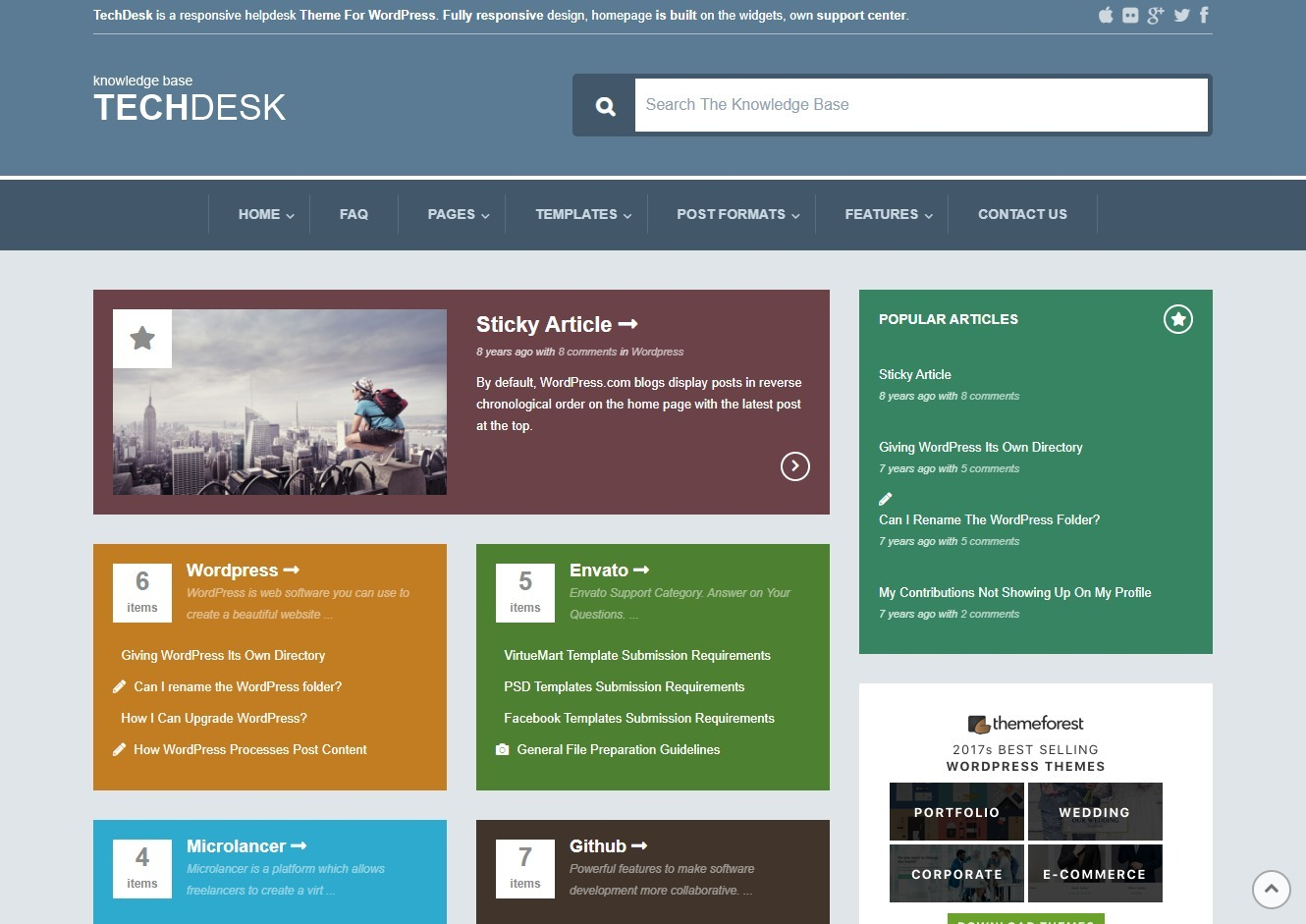 TechDesk Knowledge Base and Tech Support WordPress Theme