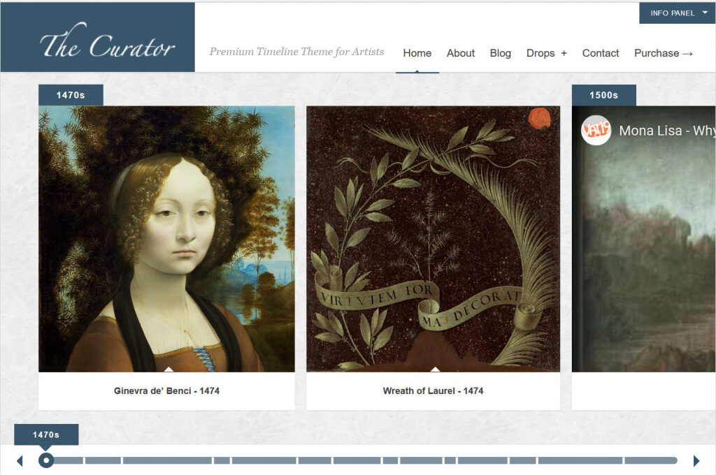 The Curator Premium Timeline Theme For Artists