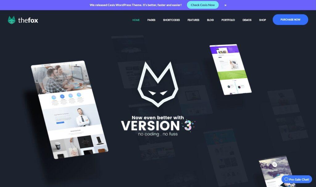 The Fox Multipurpose One Page WordPress Theme