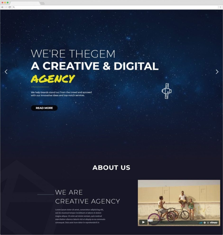 The Gem WordPress Creative Portfolio And One Page Theme