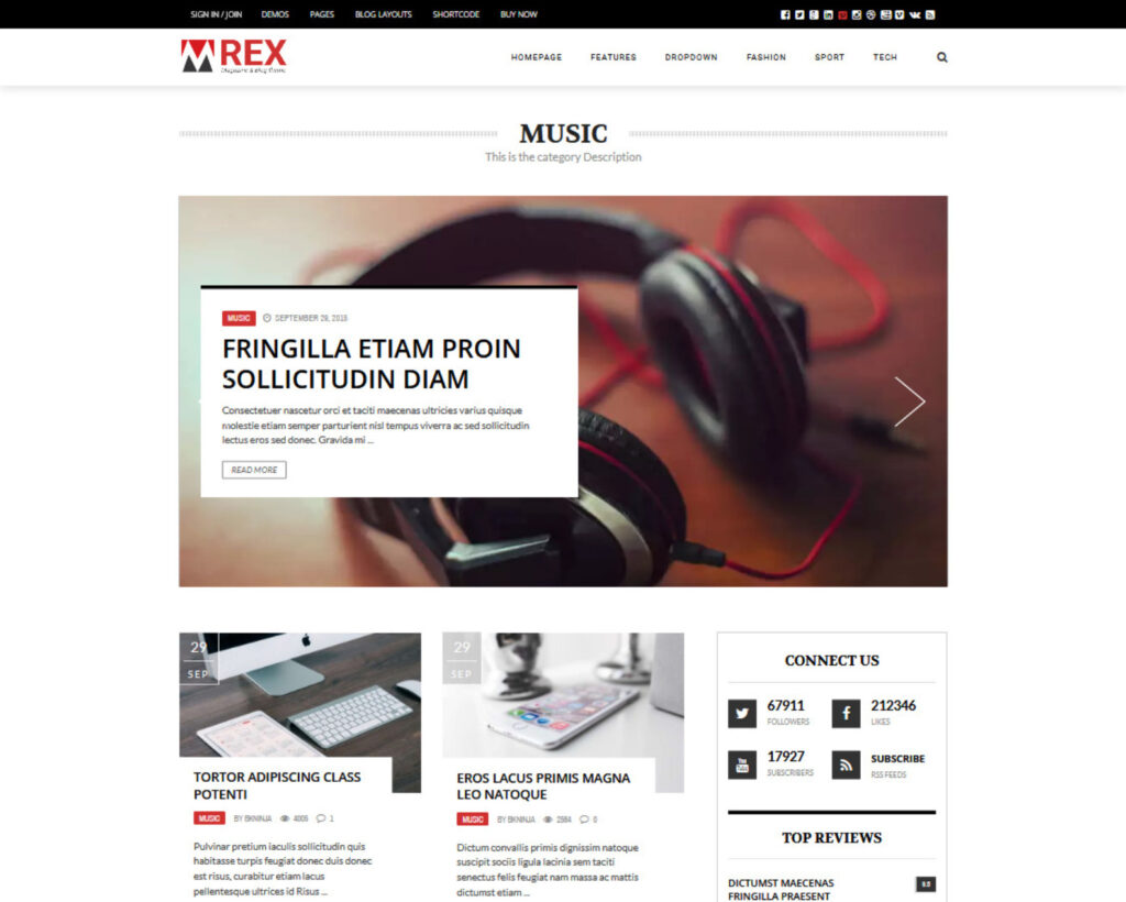 The Rex WordPress Grid Blog Theme