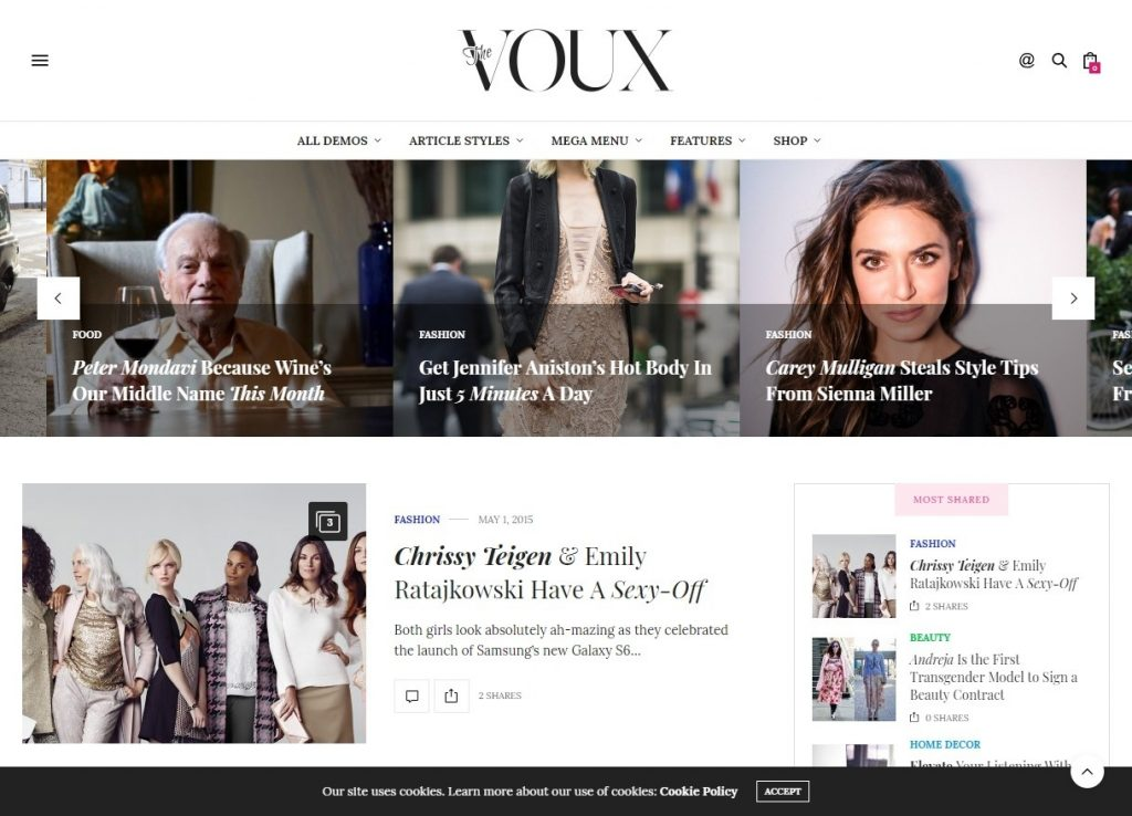 The Voux Comprehensive Magazine Journal Theme