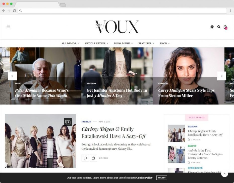 The Voux Journal And Blogging WordPress Theme