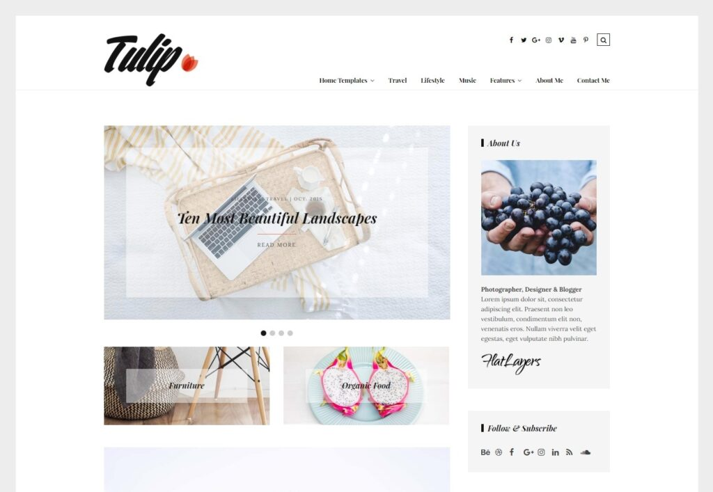 Tulip Feminine Flat WordPress Personal Blog Theme