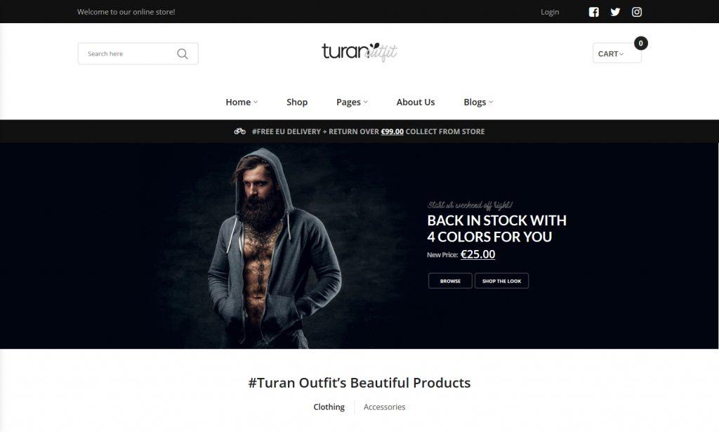 Turan WordPress Masculine Fashion Shop Theme