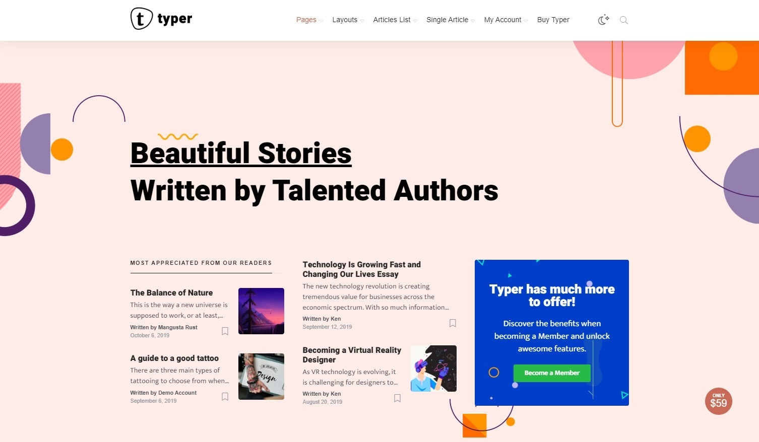 Typer Beautiful Medium Clone WordPress Theme