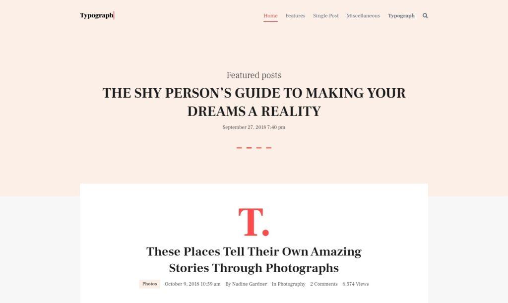 Typograph Typography Driven Blog for WordPress