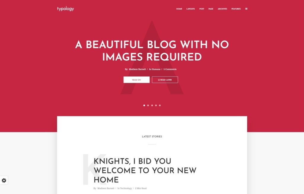 Typology WordPress Image Free Blog Theme
