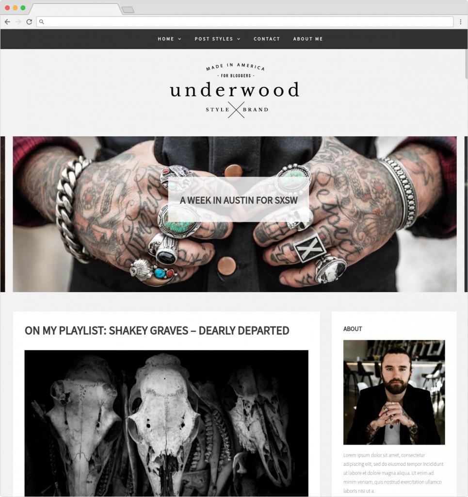 Underwood WordPress Minimalist Theme For Writers