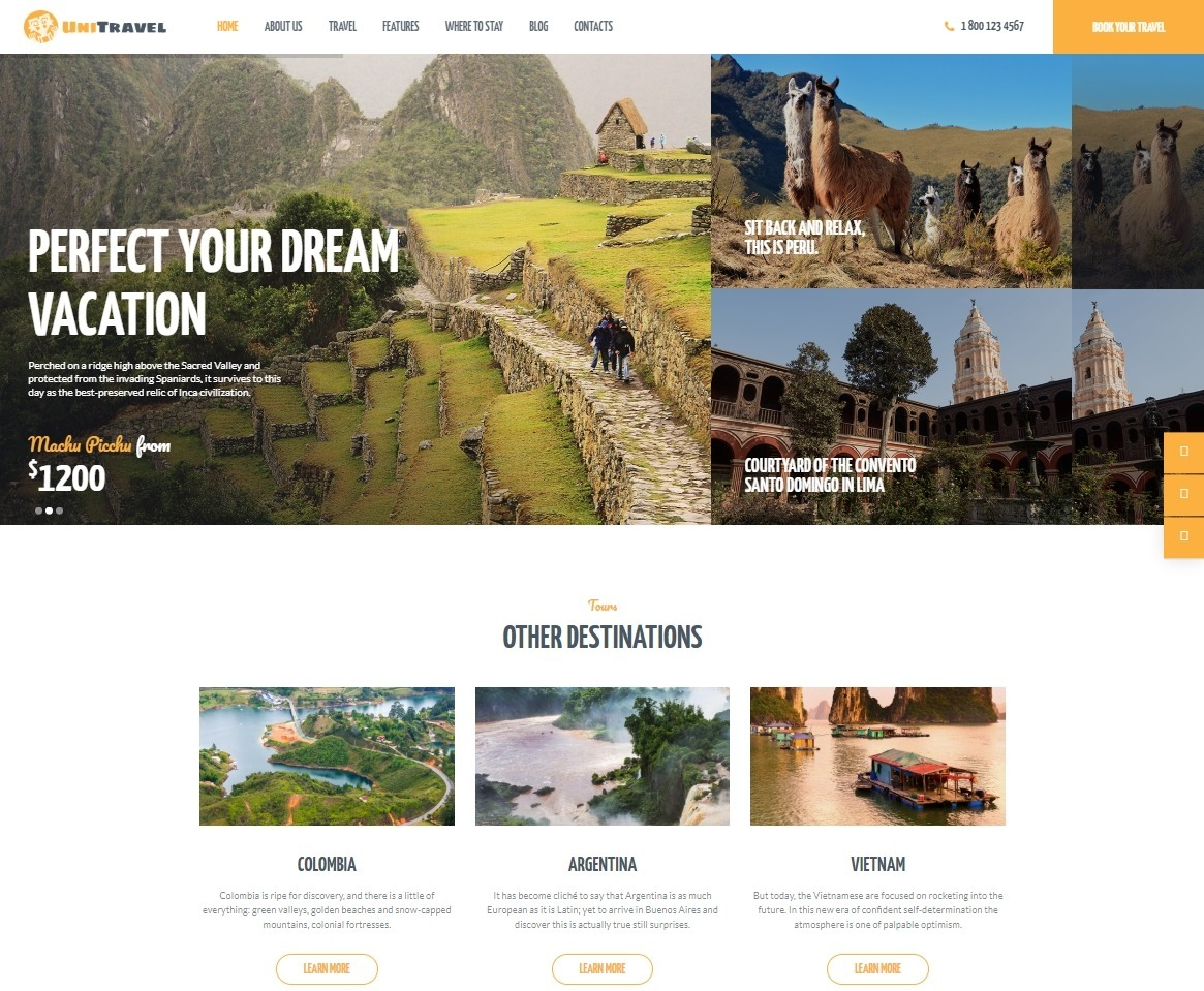 UniTravel WordPress Theme for Booking Travel Packages