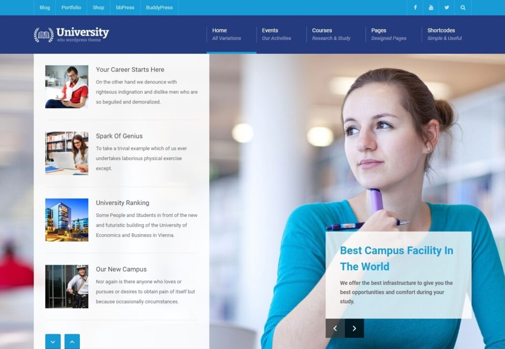 University WordPress Theme WordPress LMS Theme