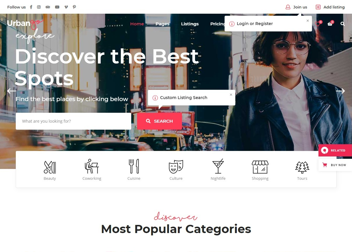 UrbanGo Directory and Listing WordPress Theme
