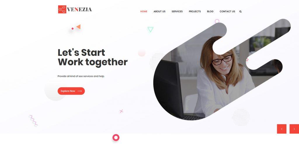 Venezia Clean Minimal Business Template For WordPress