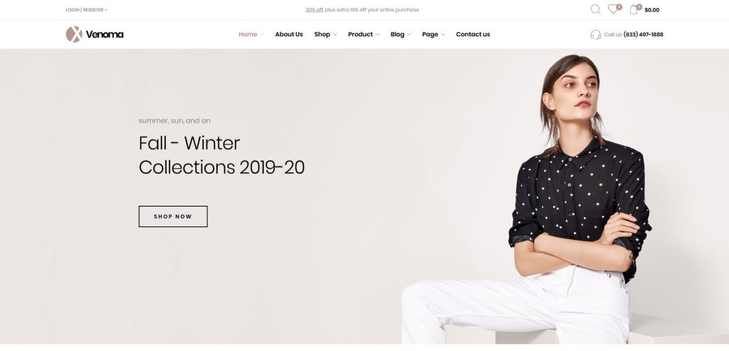 Venoma Minimal ECommerce WooCommerce Fashion Theme
