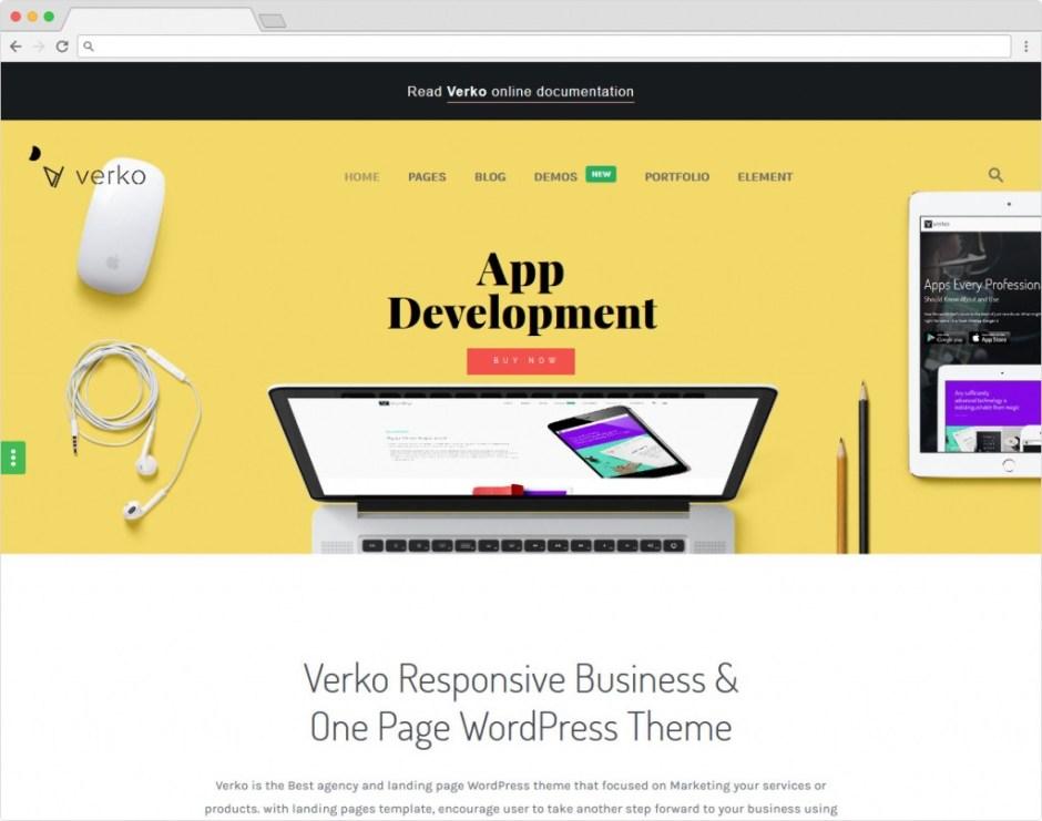 Verko Modern Flat Clean WordPress One Page App Theme