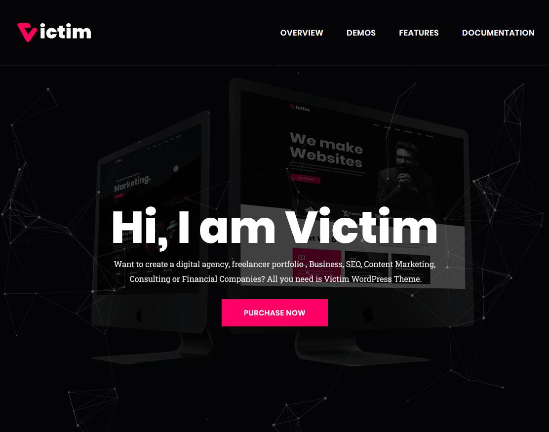 Victim Digital Agency One Page WordPress Theme