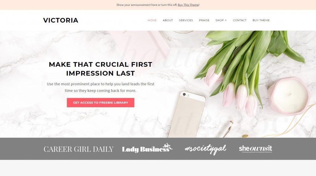 Victoria Clean Minimal Womens Business Theme BluChic