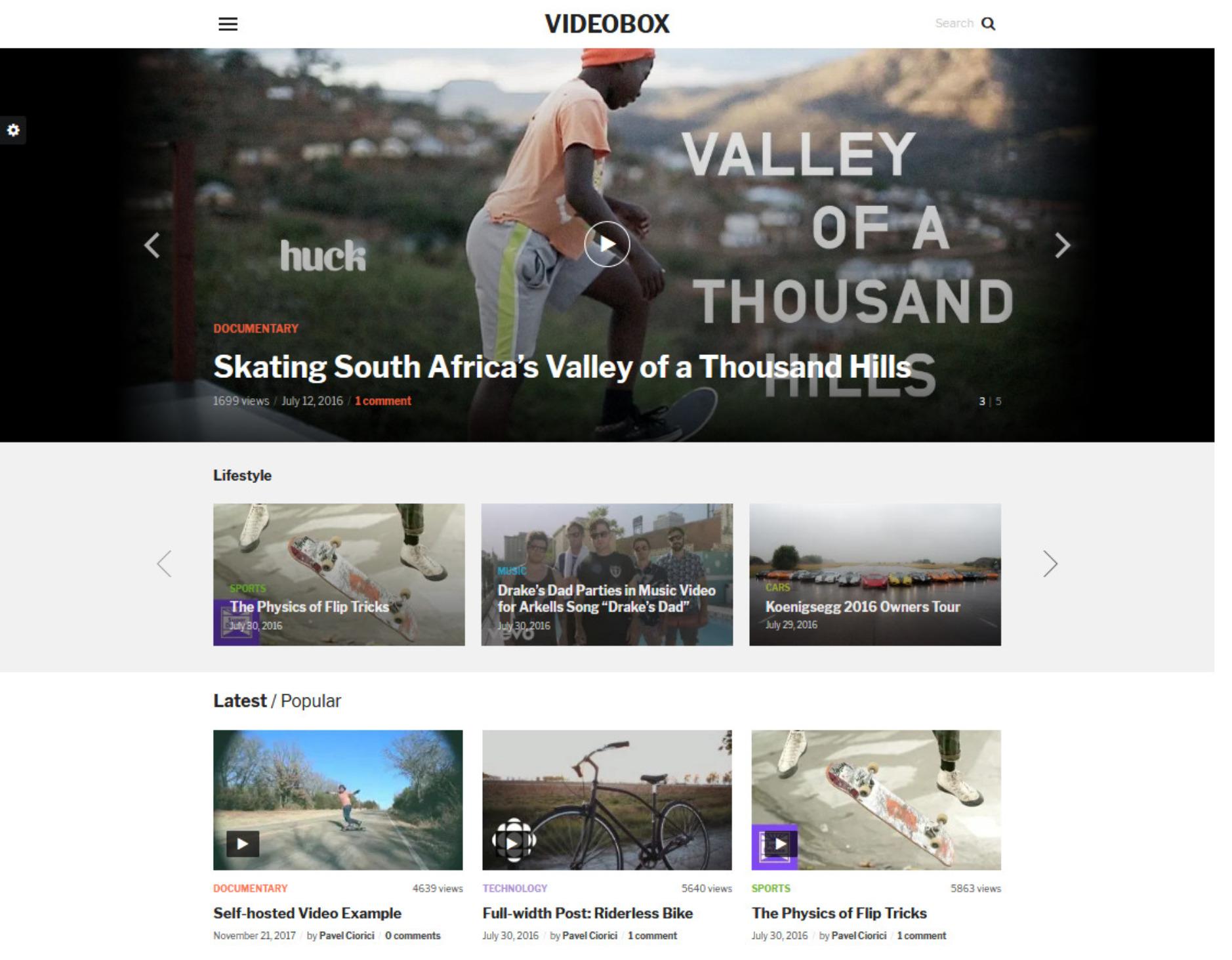 VideoBox YouTube Clone WordPress Theme