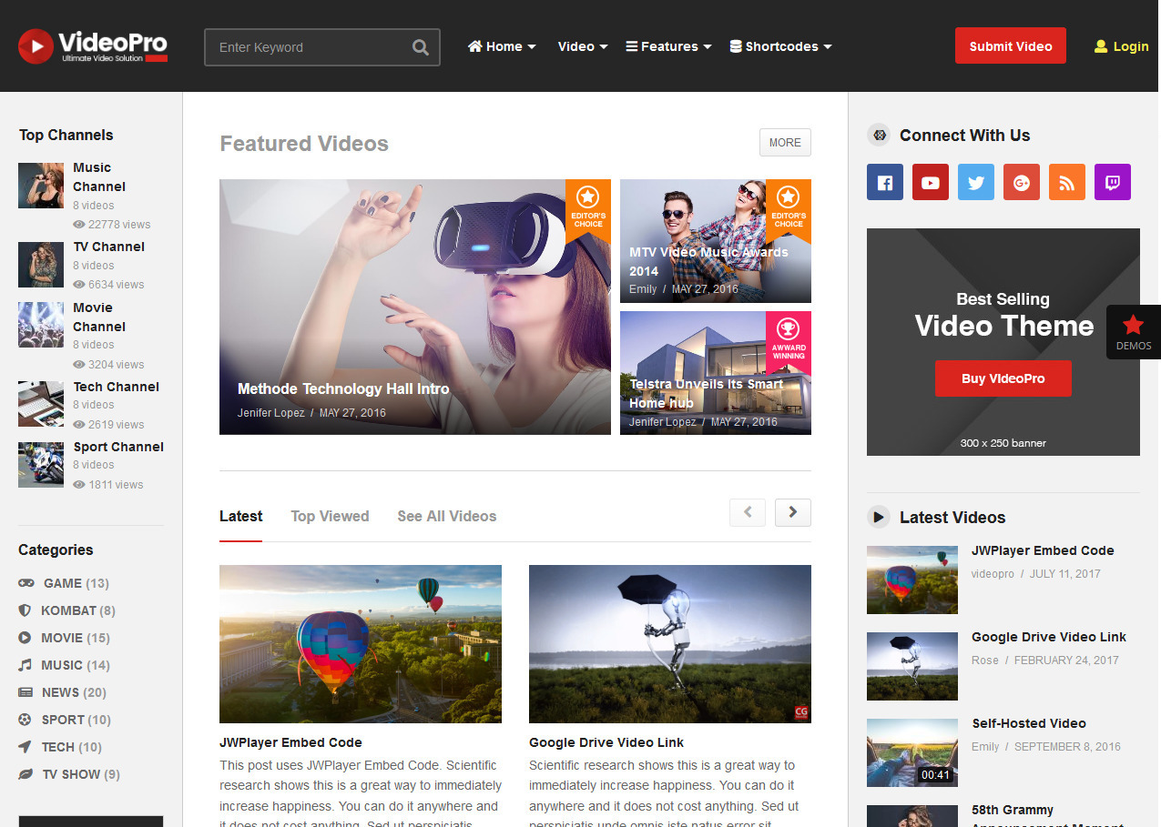 VideoPro WordPress Theme for Front End Video Submission