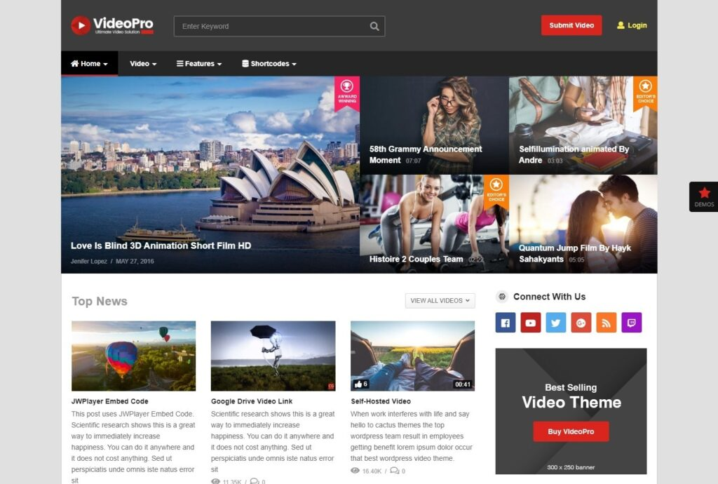 VideoPro YouTube Style Video WordPress Theme