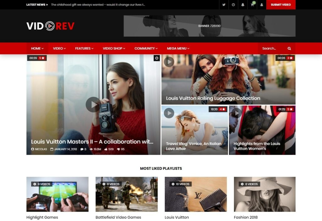 VideoRev Video Sharing Theme with BuddyPress Support