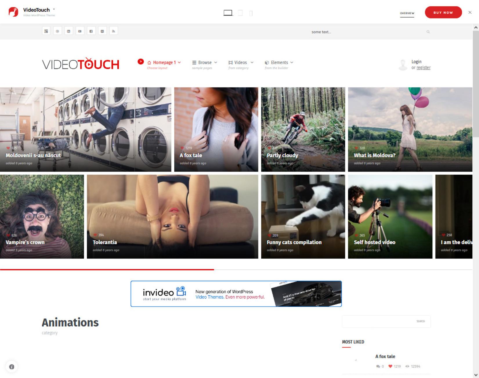 VideoTouch WordPress Theme Similar to YouTube
