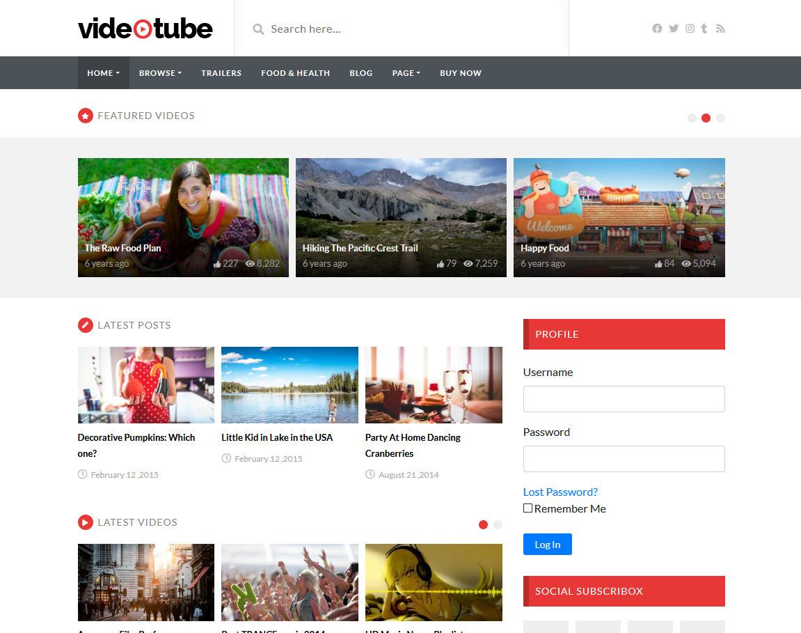 VideoTube Responsive YouTube Video WordPress Theme