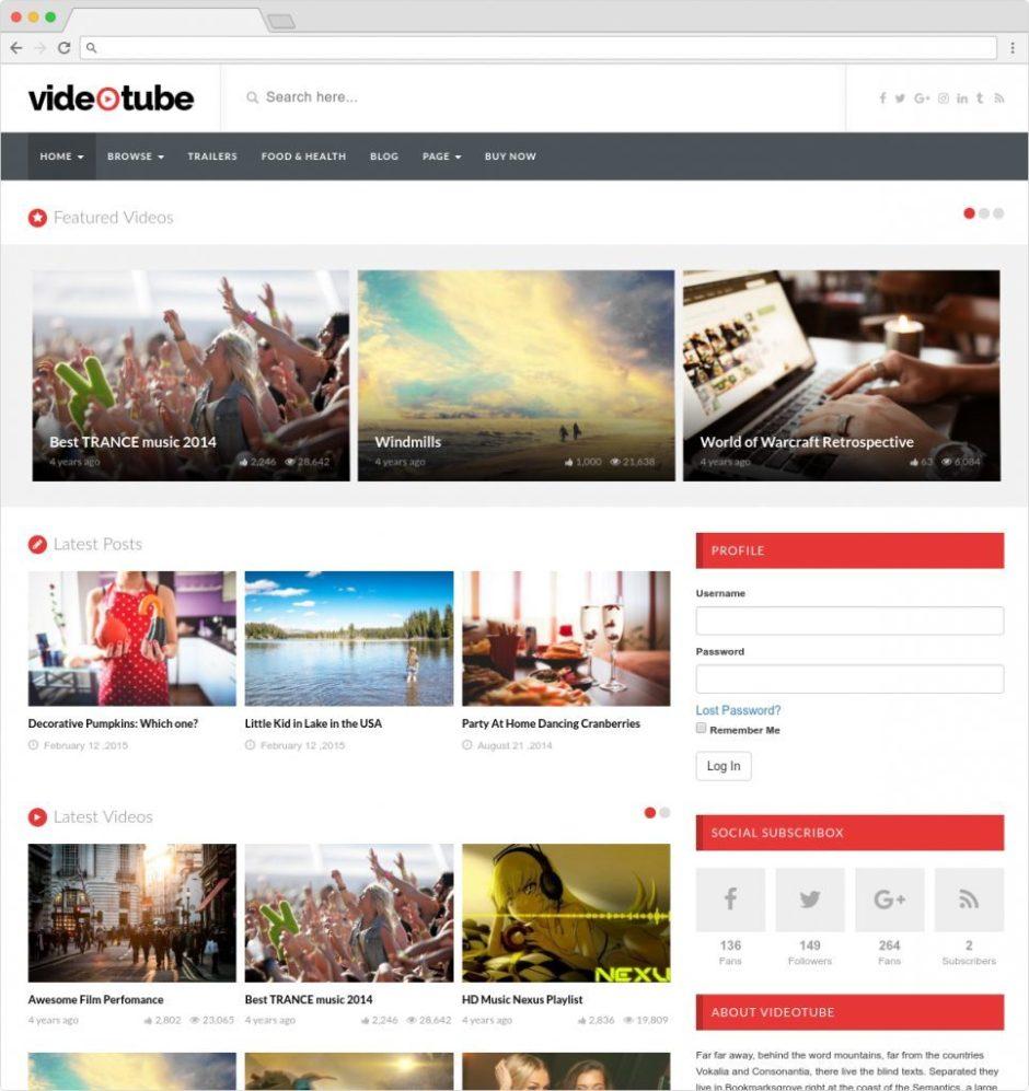 VideoTube WordPress You Tube Clone Theme