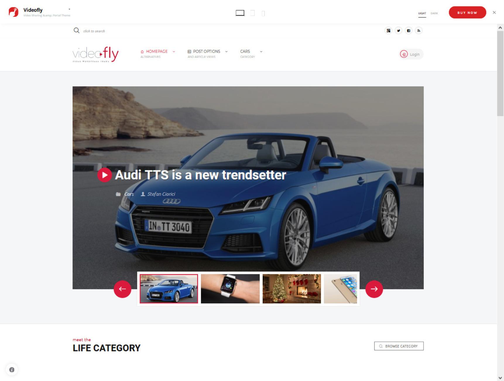 Videofly WordPress Theme with YouTube Functionality