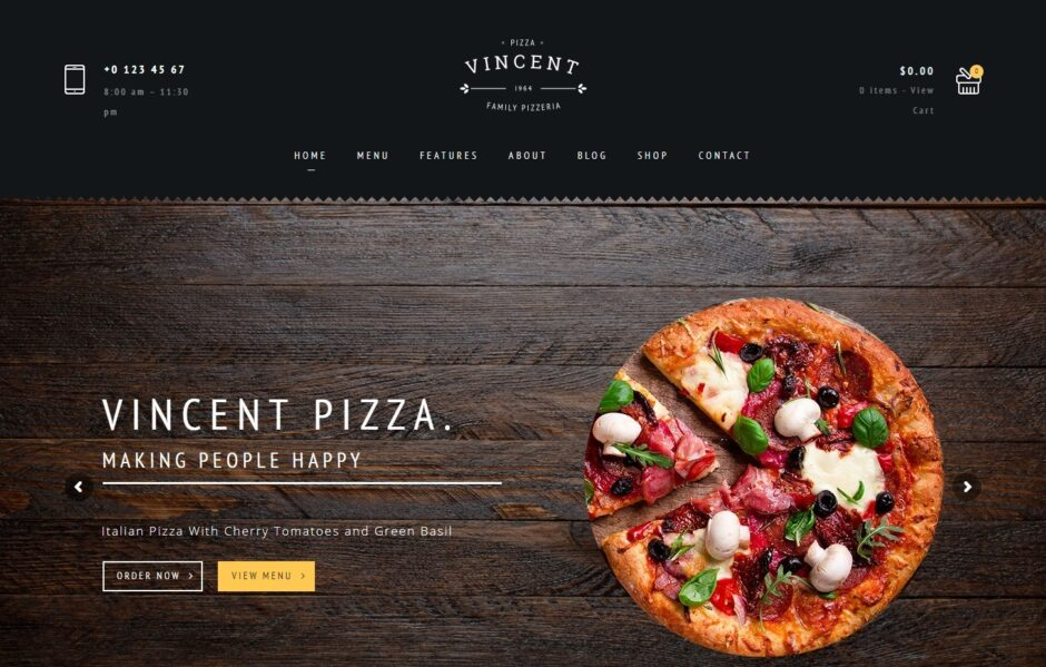 Vincent Pizzaria and Restaurant WordPress Theme