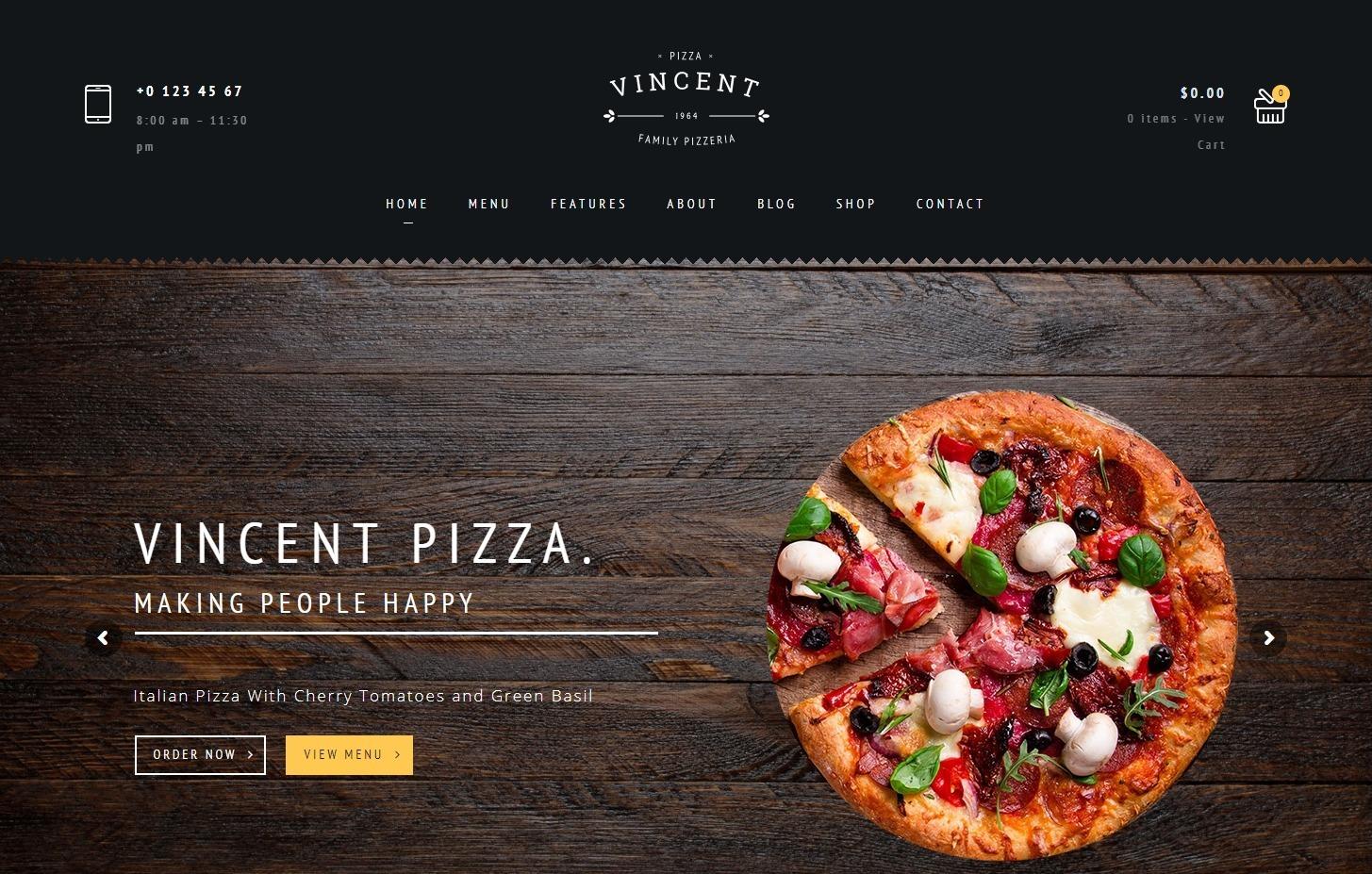 Vincent Pizzaria and Restaurant WordPress Theme
