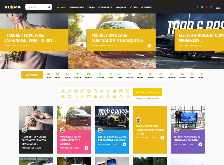 Vloma Grid A Responsive WordPress Video Blog Theme