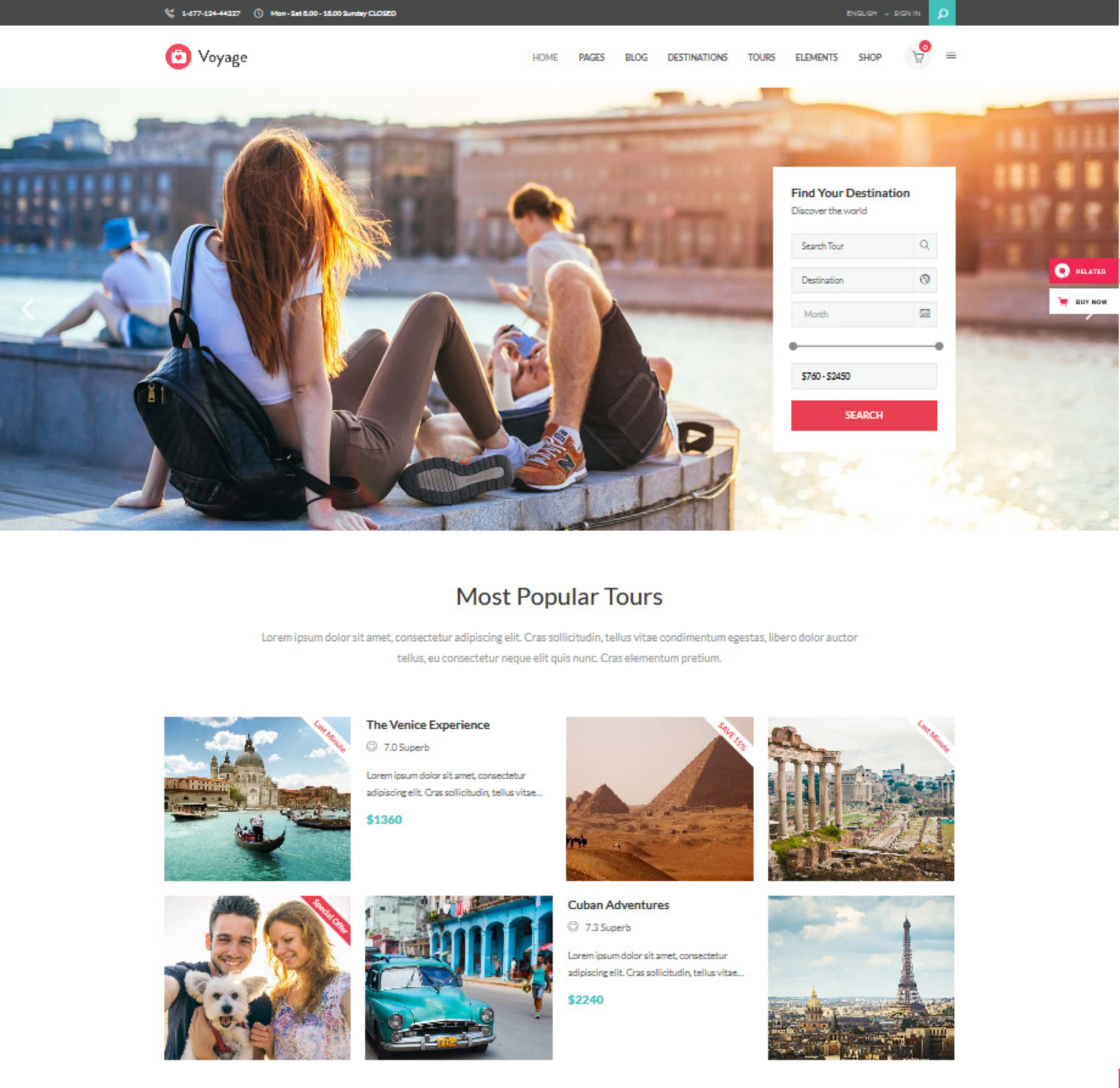 Voyage Travel and Hotel WP Theme