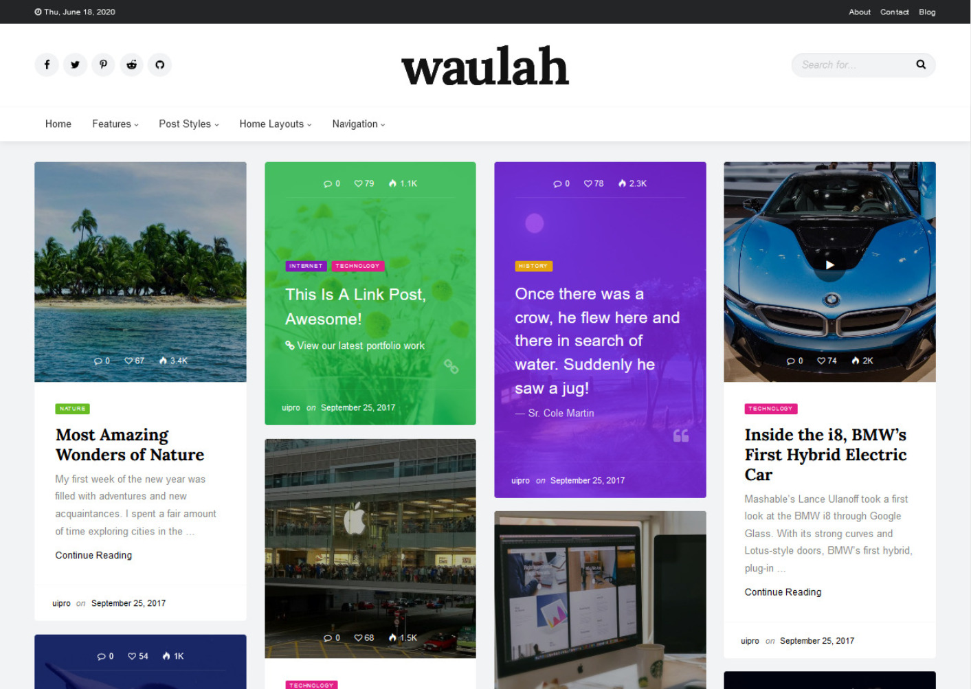 Waulah Clean Pinterest Inspired Grid Theme