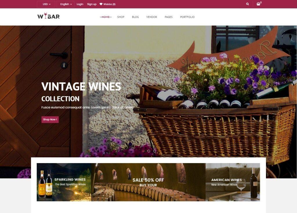 Wibar Wine Shop and Bottle Shop WordPress Theme