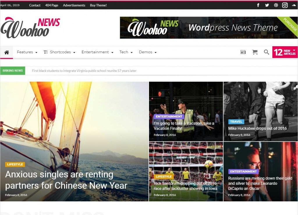 WooHoo News WordPress BuddyPress Community Magazine Themes
