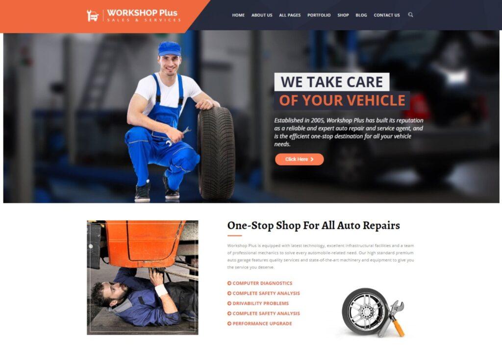 WorkshopPlus WordPress Theme for Automotive Mechanics