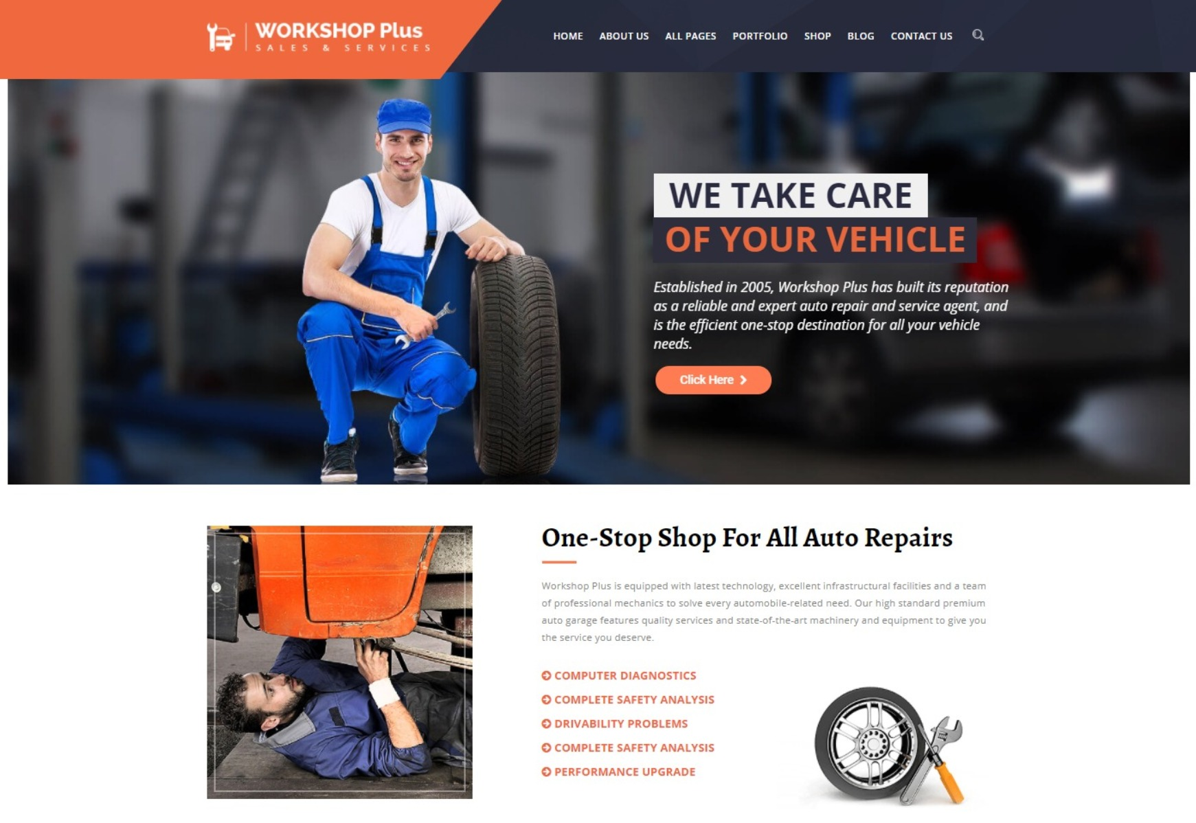WorkshopPlus WordPress Theme for Automotive Mechanics