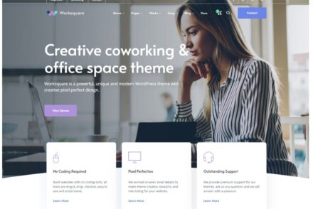Worksquare Coworking and Office Space WordPress Theme