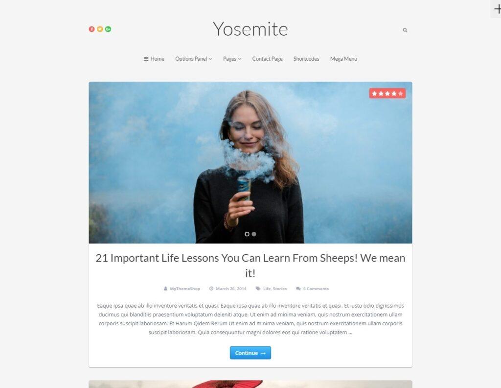 Yosemite Clean WordPress Blogging Theme