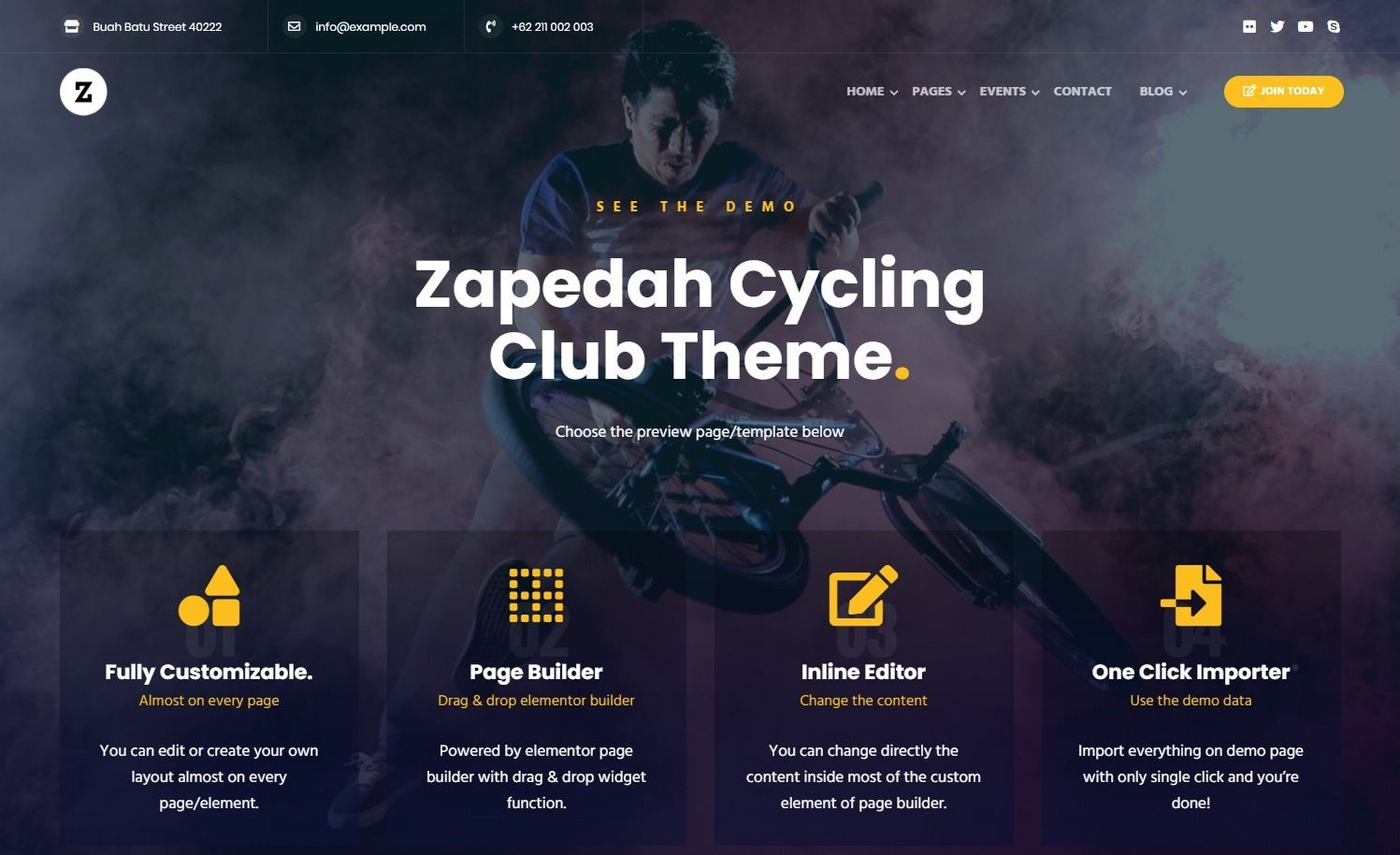 Zapedah Bicycling Club and Sports Theme